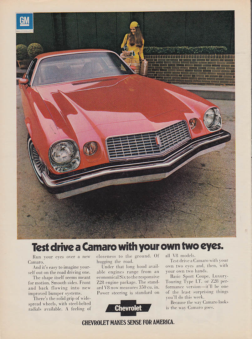 Test drive a Camaro with your own two eyes ad 1974 SI
