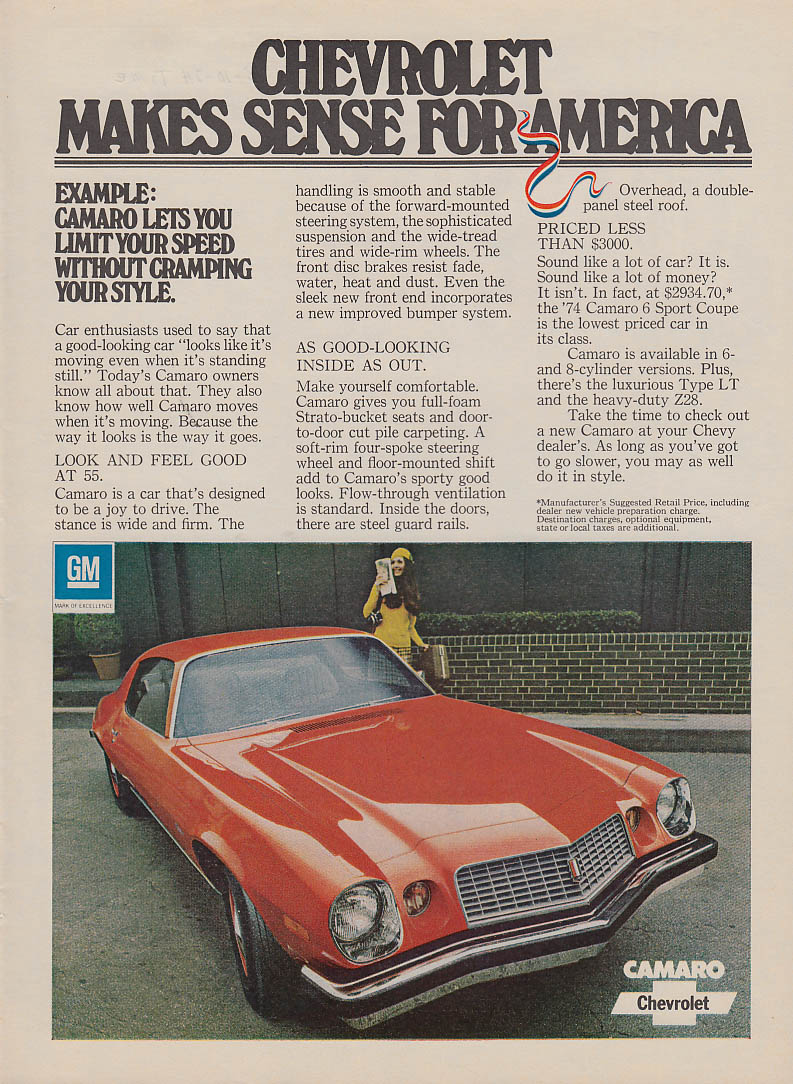 Chevrolet Makes Sense for America Camaro feel good at 55 ad 1974 T