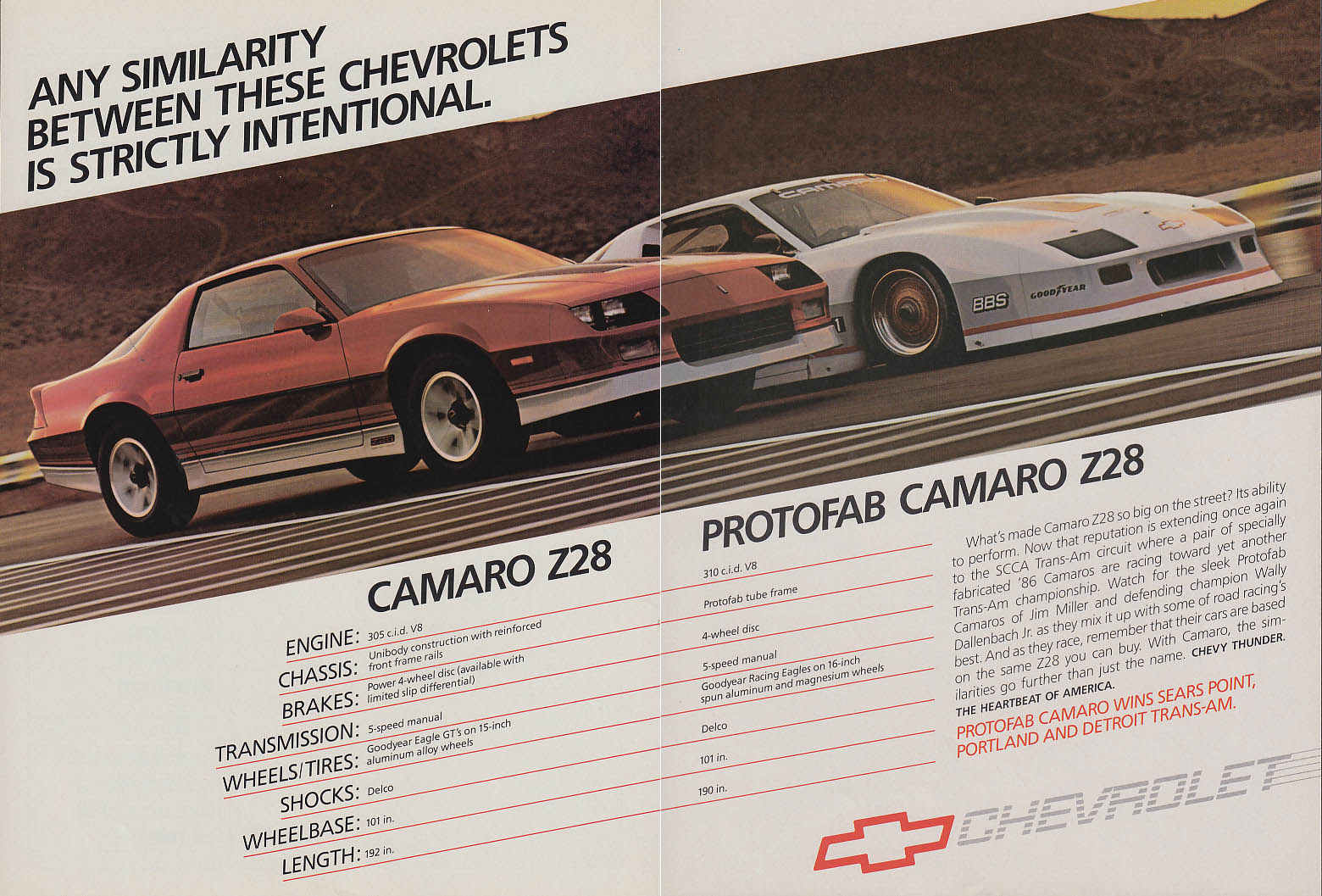 Any similarity is intentional Camaro Z28 Protofab Camaro Z28 ad 1986