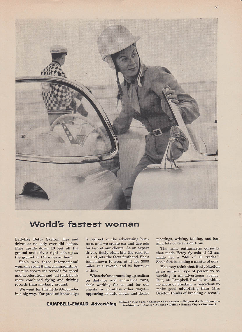 Betty Skelton World's Fastest Woman Corvette in Campbell-Ewald ad 1957