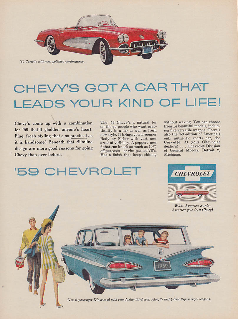 A car that leads your kind of life Corvette Kingswood Wagon ad 1959 True