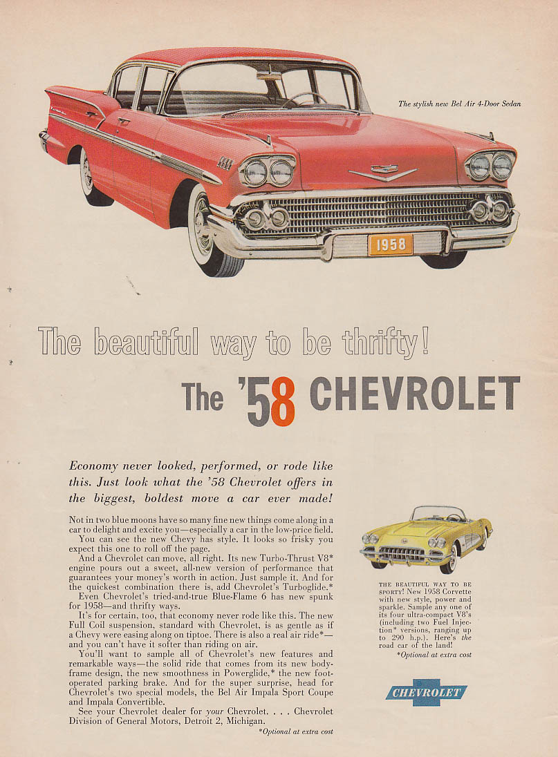 Beautiful way to be thrifty! Chevrolet Bel Air & Corvette ad 1958 NW