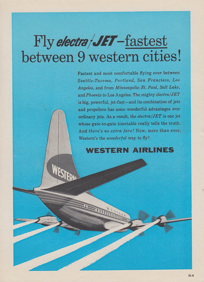 Fly Electra Jet - fastest between 9 western cities Western Airlines ad 1959