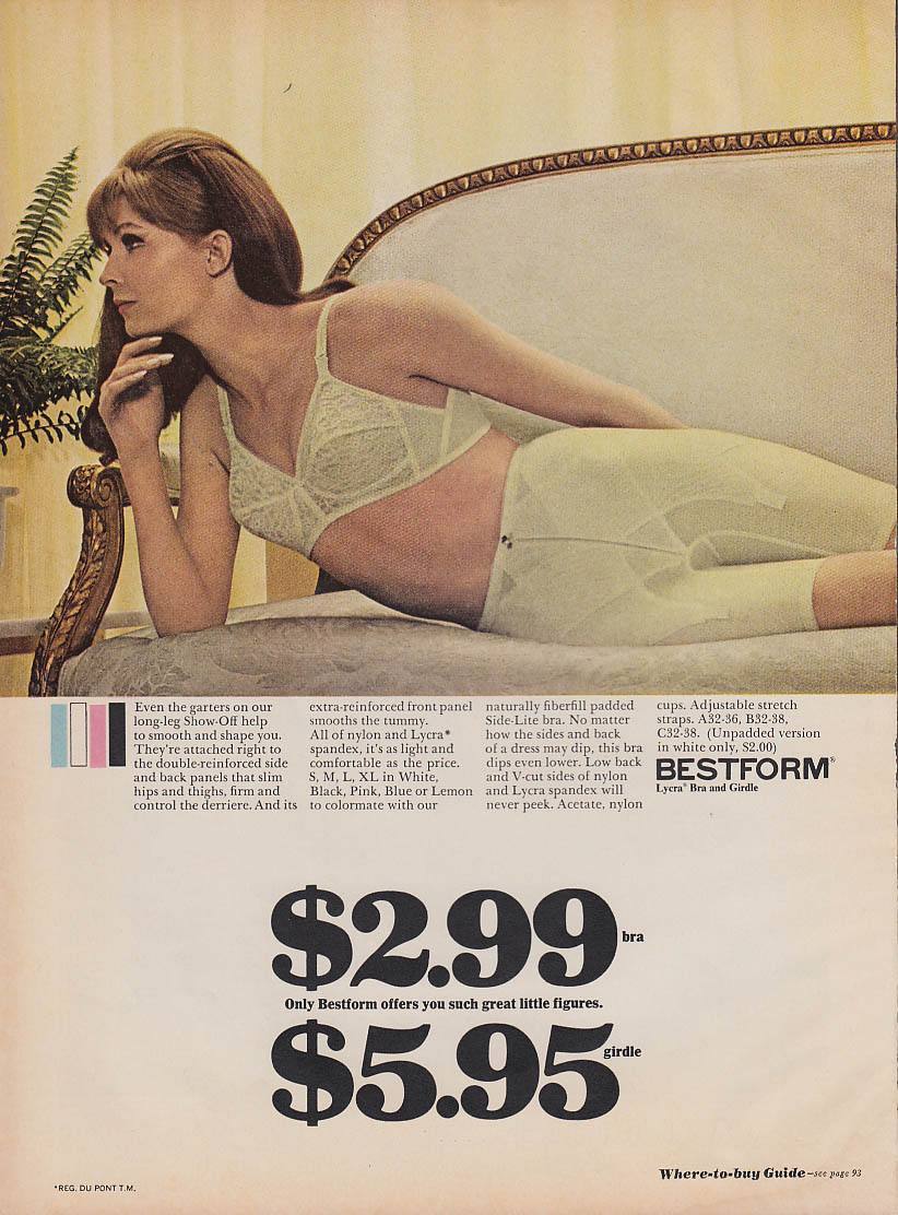 $2.99 bra $5/95 girdle Bestform offers such great little figures ad 1967 GL