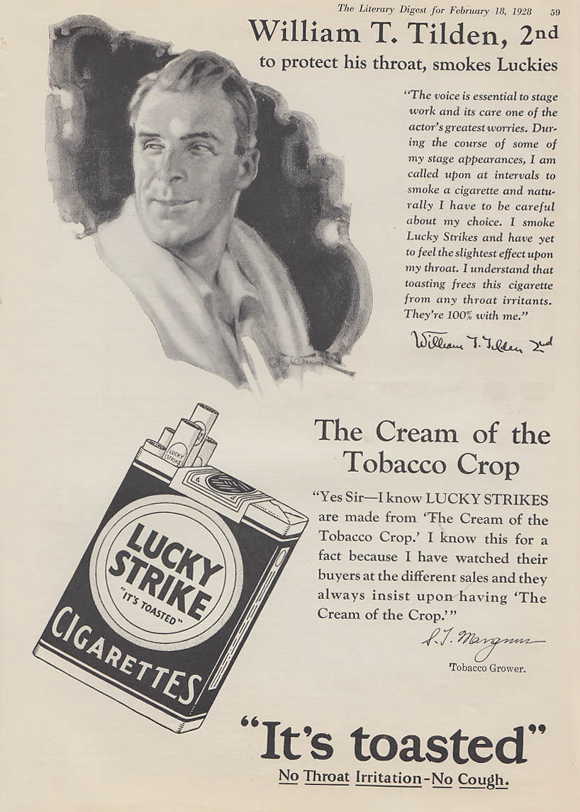 William Big Bill Tilden for Lucky Strike Cigarettes ad 1928