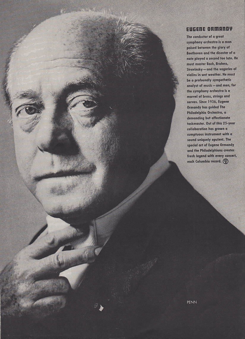 Eugene Ormandy by Irving Penn for Columbia Records ad 1960 NY