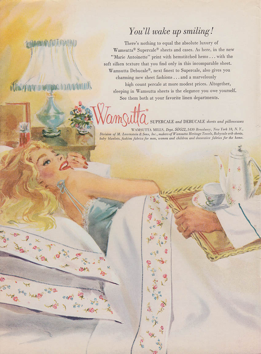 You'll wake up smiling Wamsutta Sheets ad 1959 blonde breakfast in bed Gannam