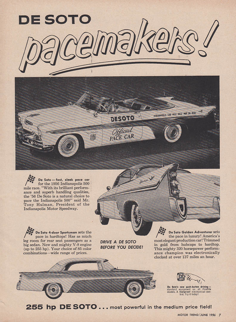 De Soto Pacemakers! Indy 500 Pace Car Golden Adventurer Sportsman ad 1956 MT