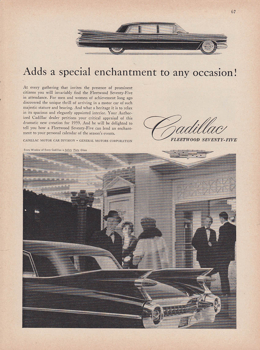 Adds a special enhancement to any occasion Cadillac Fleetwood 75 ad 1959 NY