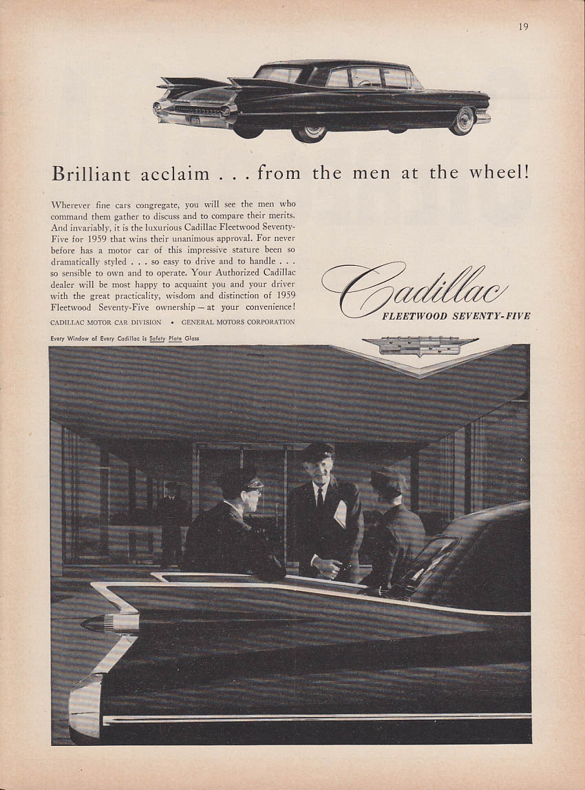 Brilliant acclaim from the men at the wheel Cadillac Fleetwood 75 ad 1959 NY
