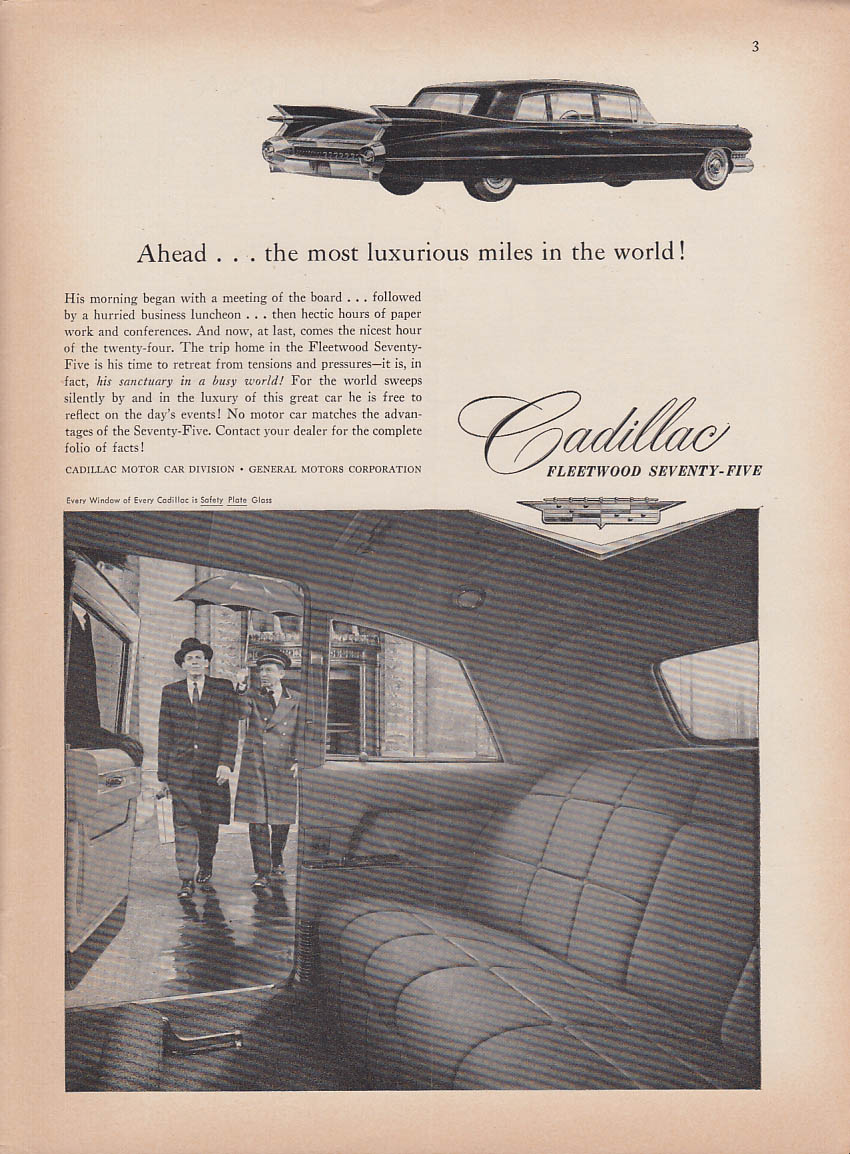 Ahead the most luxurious miles in the world Cadillac Fleetwood 75 ad 1959 NY