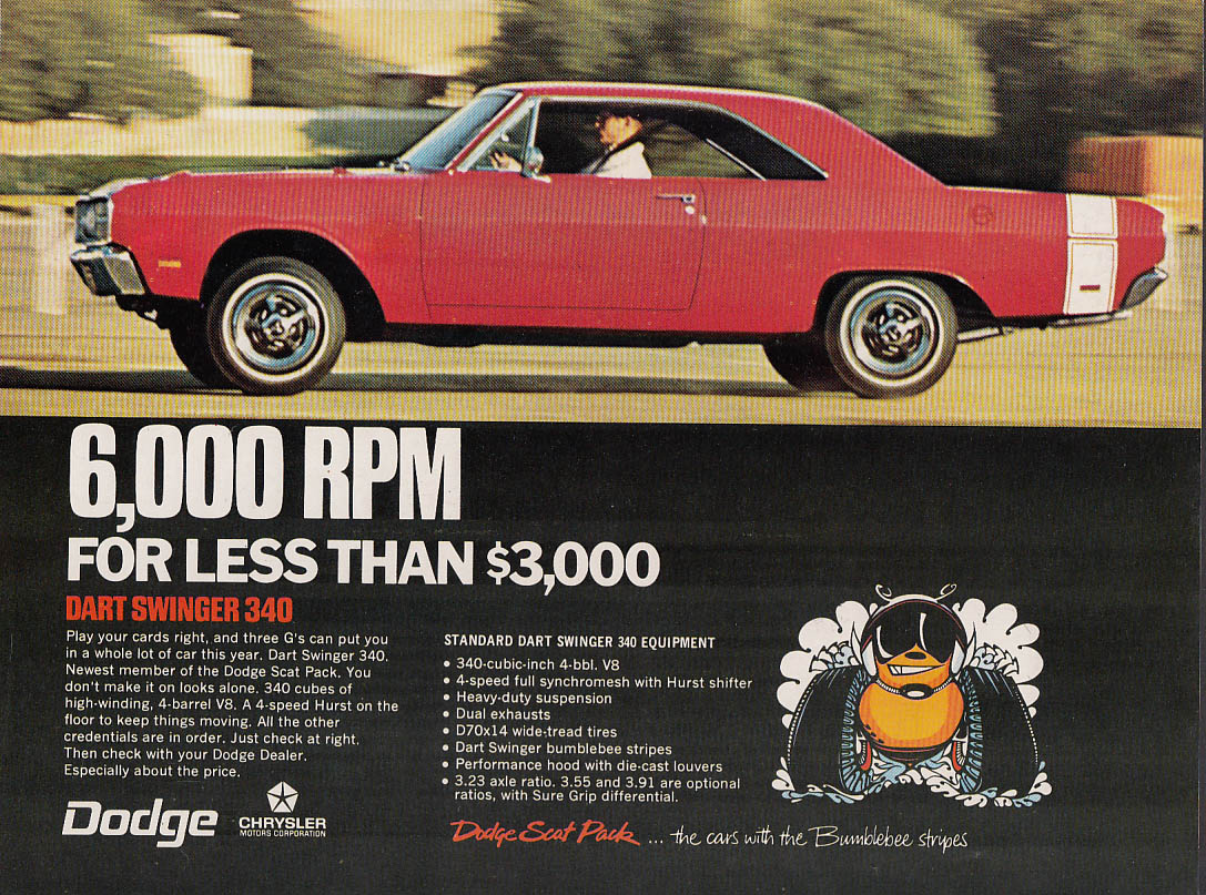 6,000 RPM for less than $3000 Dodge Dart Swinger 340 ad 1969