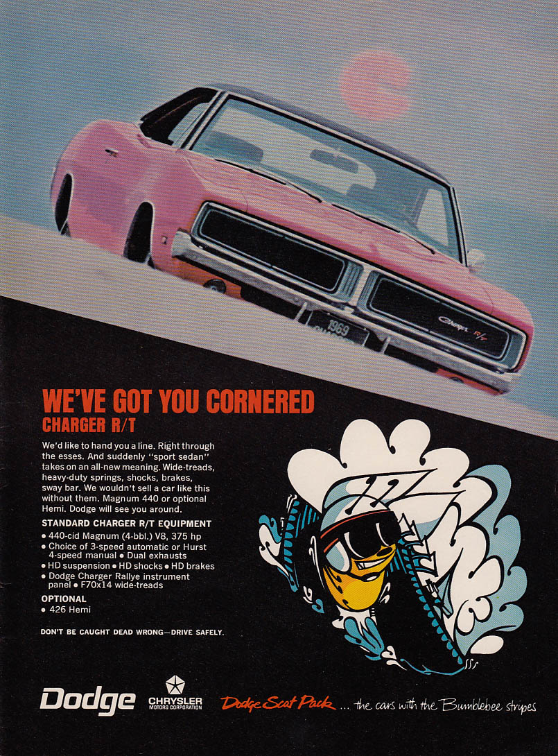 We've got you cornered Dodge Charger R/T 440-cid Magnum ad 1969
