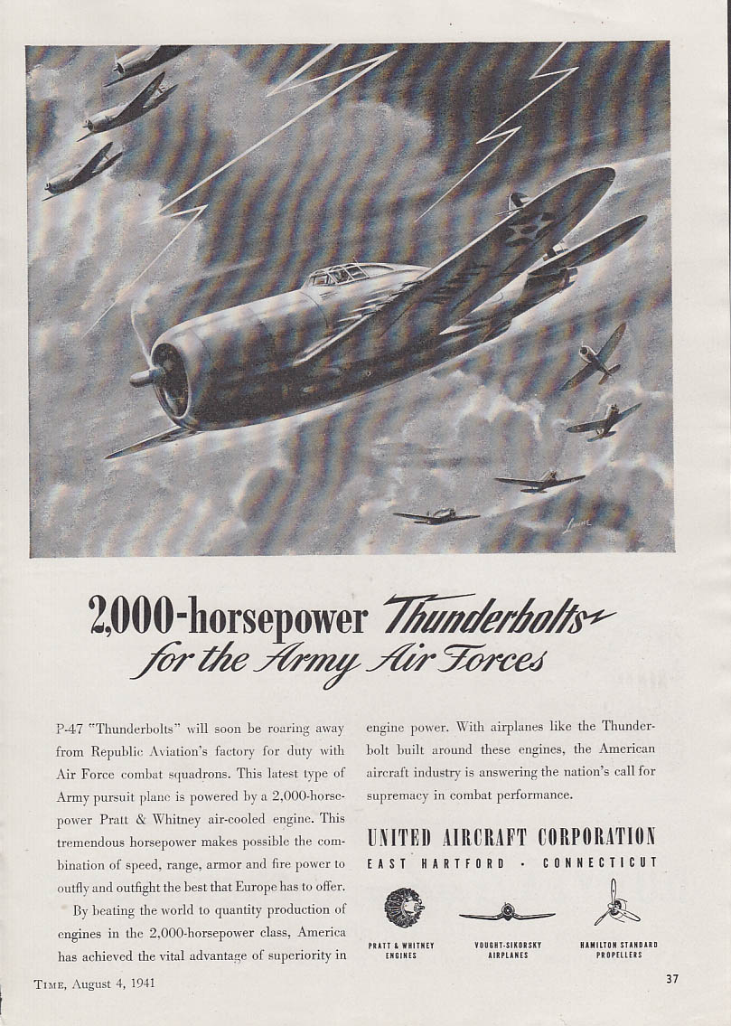 2000-horsepower Republic P-47 Thunderbolt for USAAF United Aircraft ad 1941