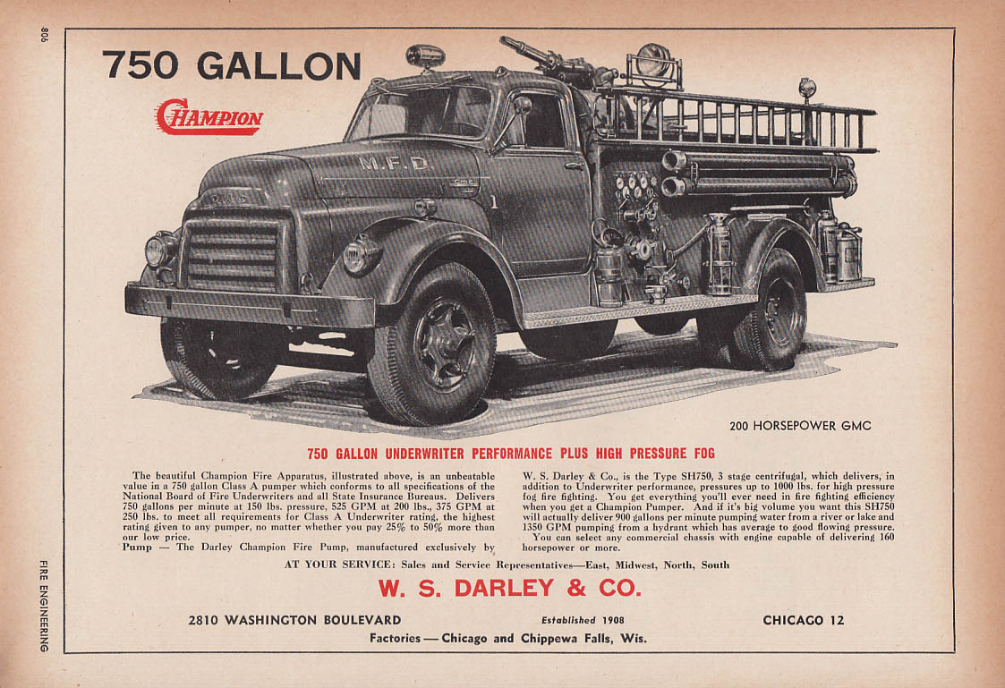Image for W S Darley Champion 750GPM Pumper on GMC chassis fire truck ad 1954