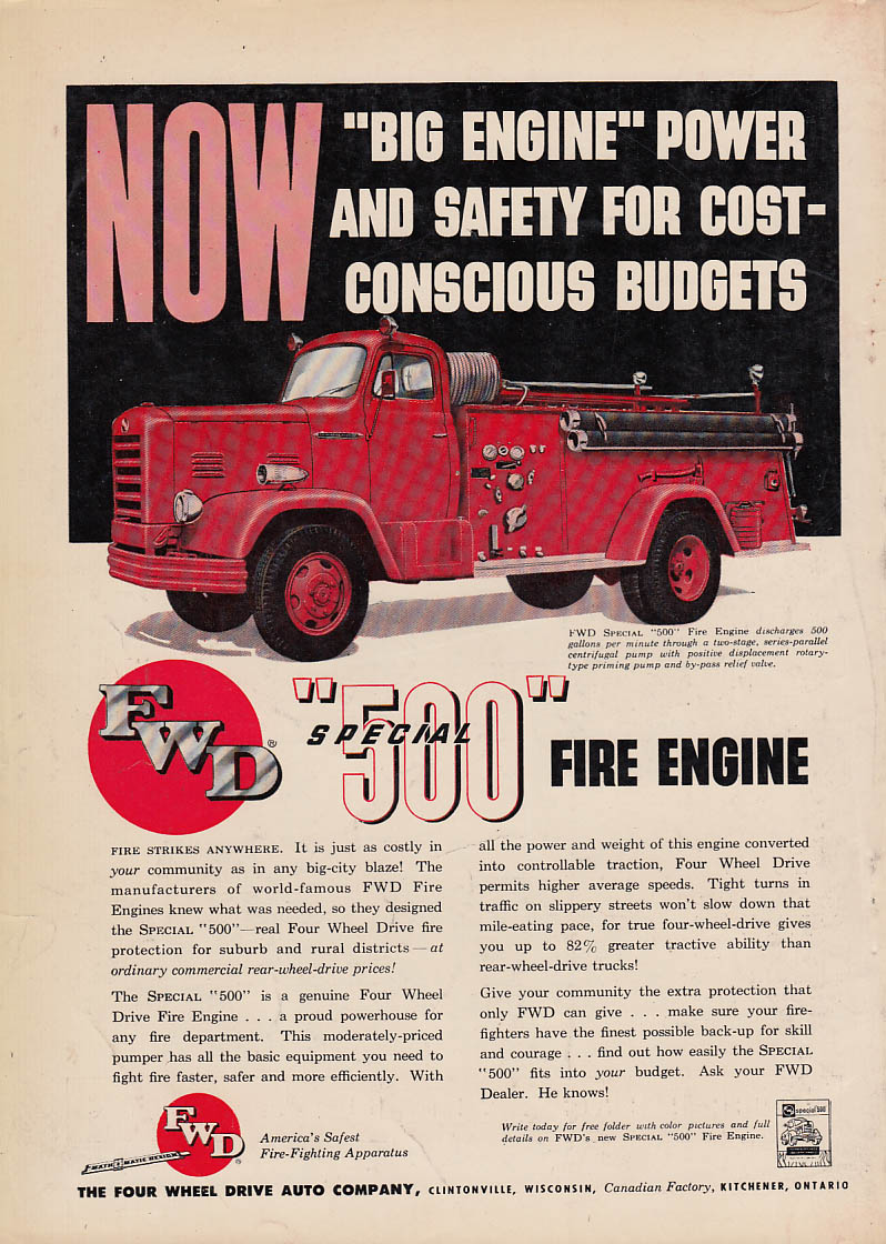 Big Engine Power - FWD Special 500 500GPM Pumper ad 1954
