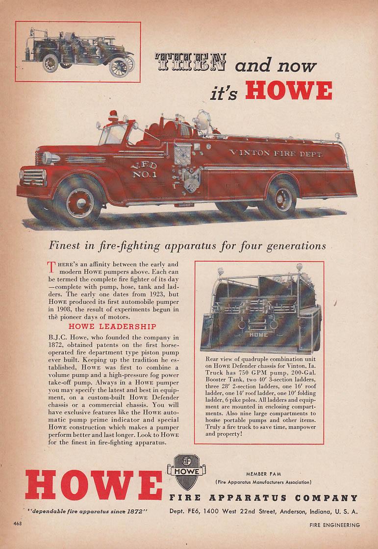 Finest for four generations Howe Defender Vinton FD Pumper fire truck ad 1954