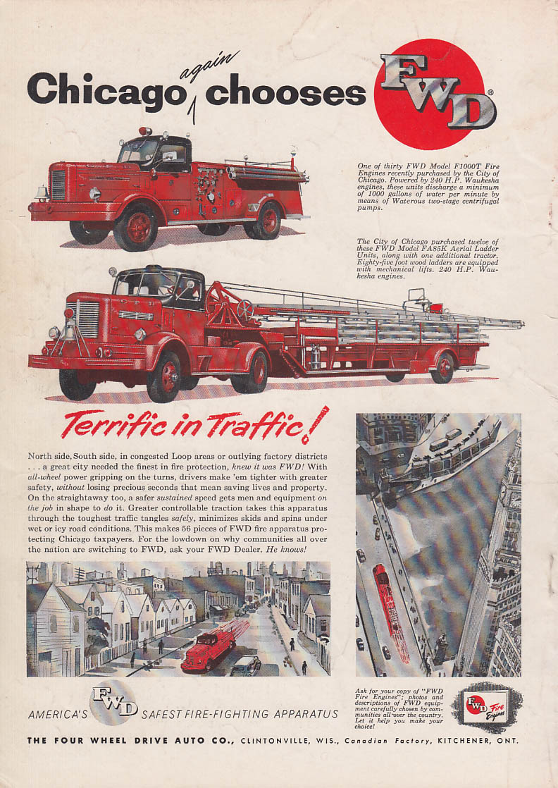 Image for Chicago again chooses FWD F100T Pumper & FA85K Aerial Ladder fire truck ad 1954
