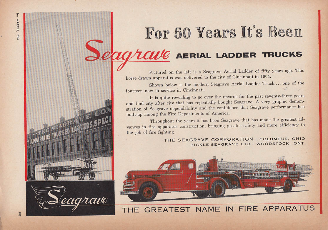 For 50 years it's been Seagrave Aerial Ladder Fire Trucks ad 1954