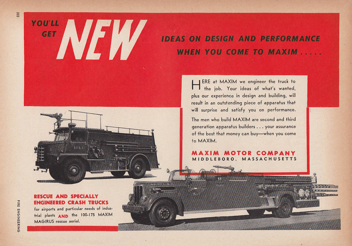 New ideas - Maxim Crash Truck & 100-175 Magirus Aerial Rescue fire truck ad 1954