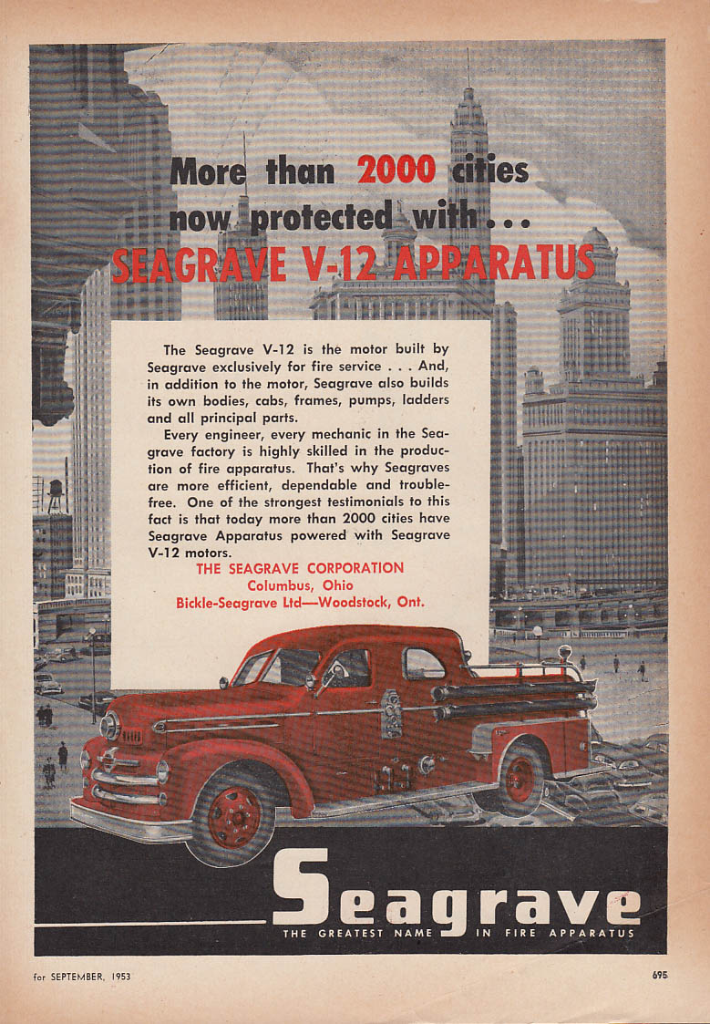 More then 200 cities now protected Seagrave V-12 Fire Truck ad 1953