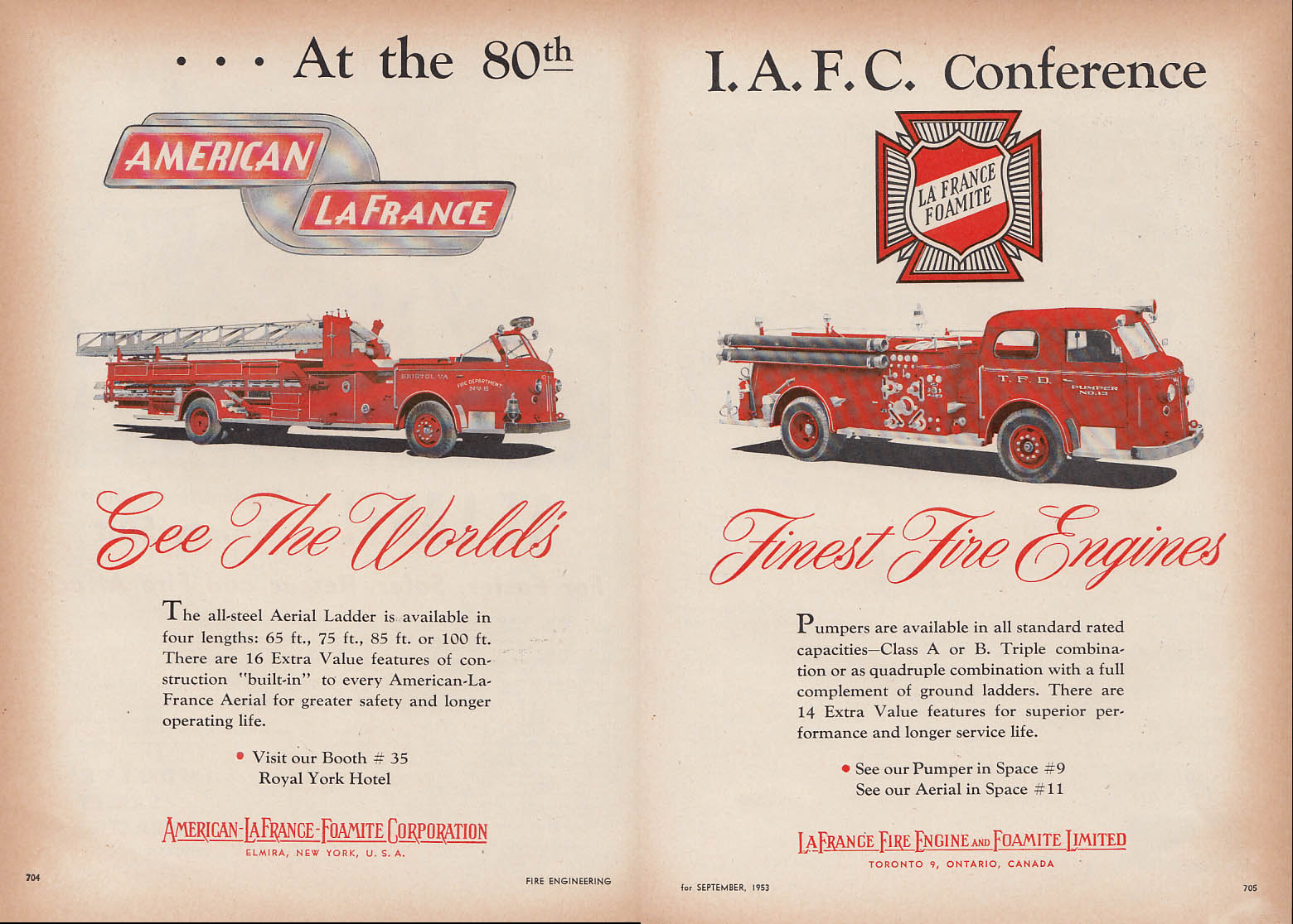 At 80th IAFC Conference American-LaFrance Aerial Ladder & Pumper ad 1953