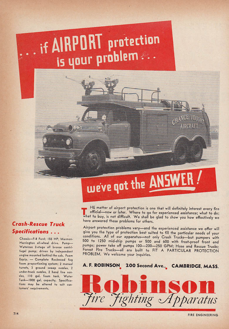 Airport protection? we've got answer Robinson Crash-Rescue Ford Truck ad 1953