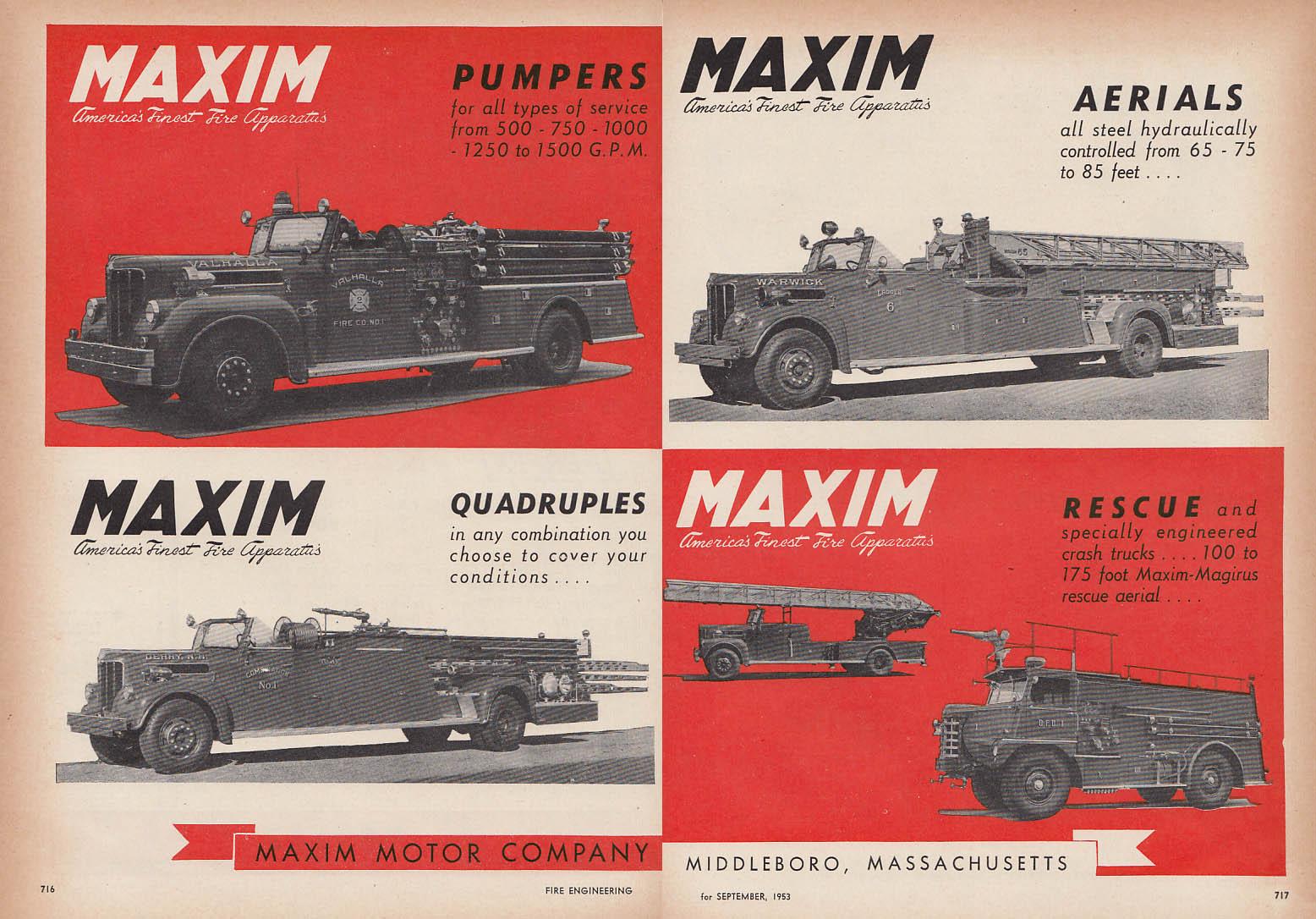 Maxim Pumpers Aerials Quadruples & Rescue Fire Truck ad 1953