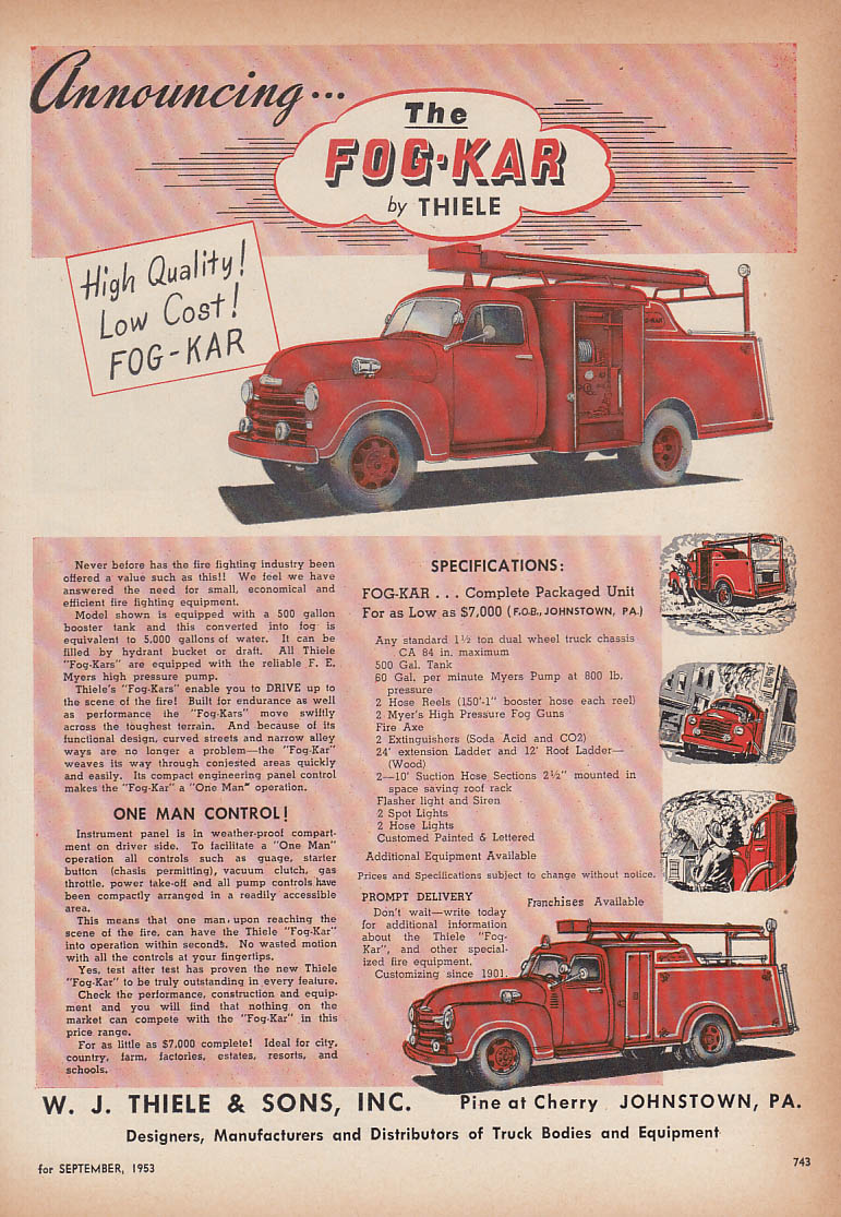 Announcing the Fog-Kar W J Thiele Chevrolet fire truck ad 1953
