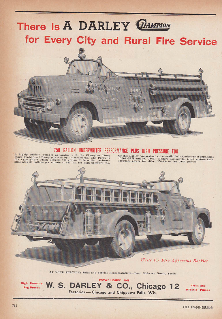 Image for For every city and rural fire service W S Darley Champion IHC Fire Truck ad 1953