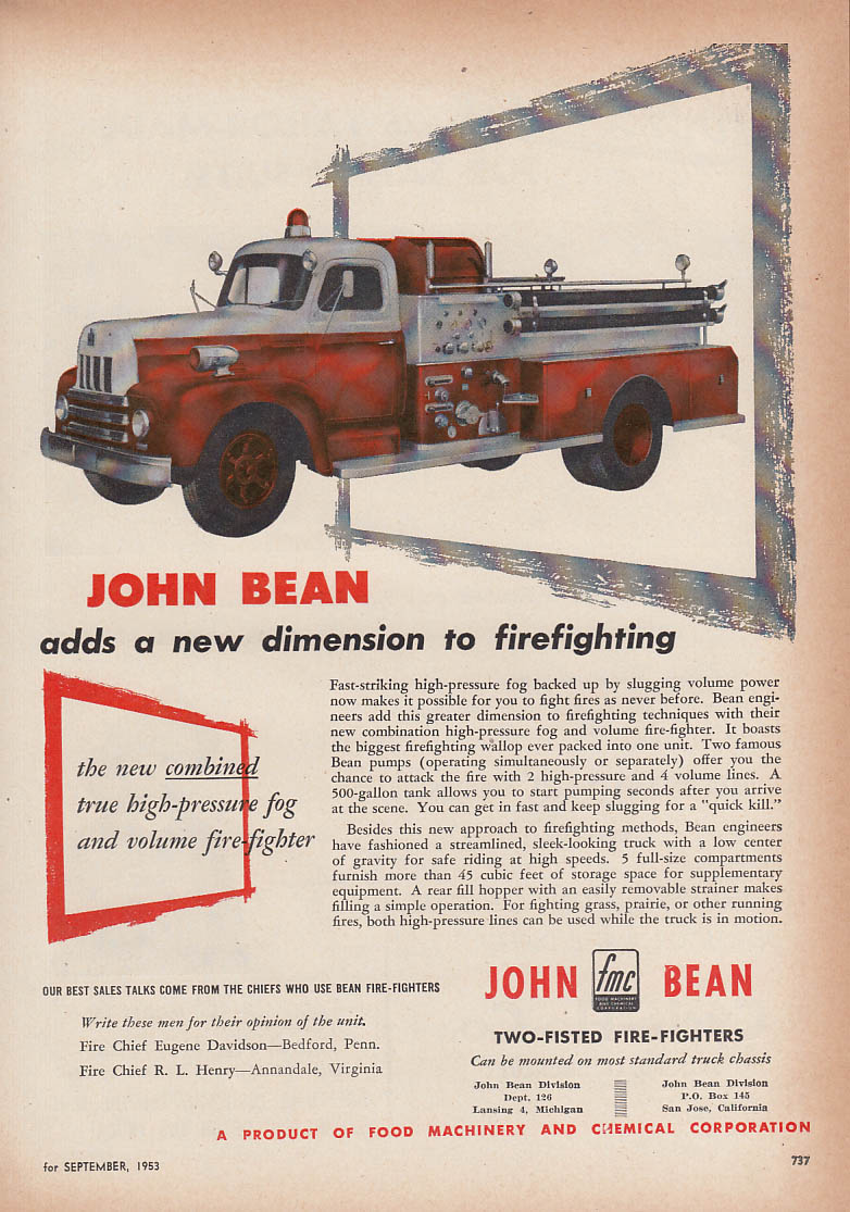 Adds a new dimension - John Bean High-Pressure Fog fire truck ad 1953