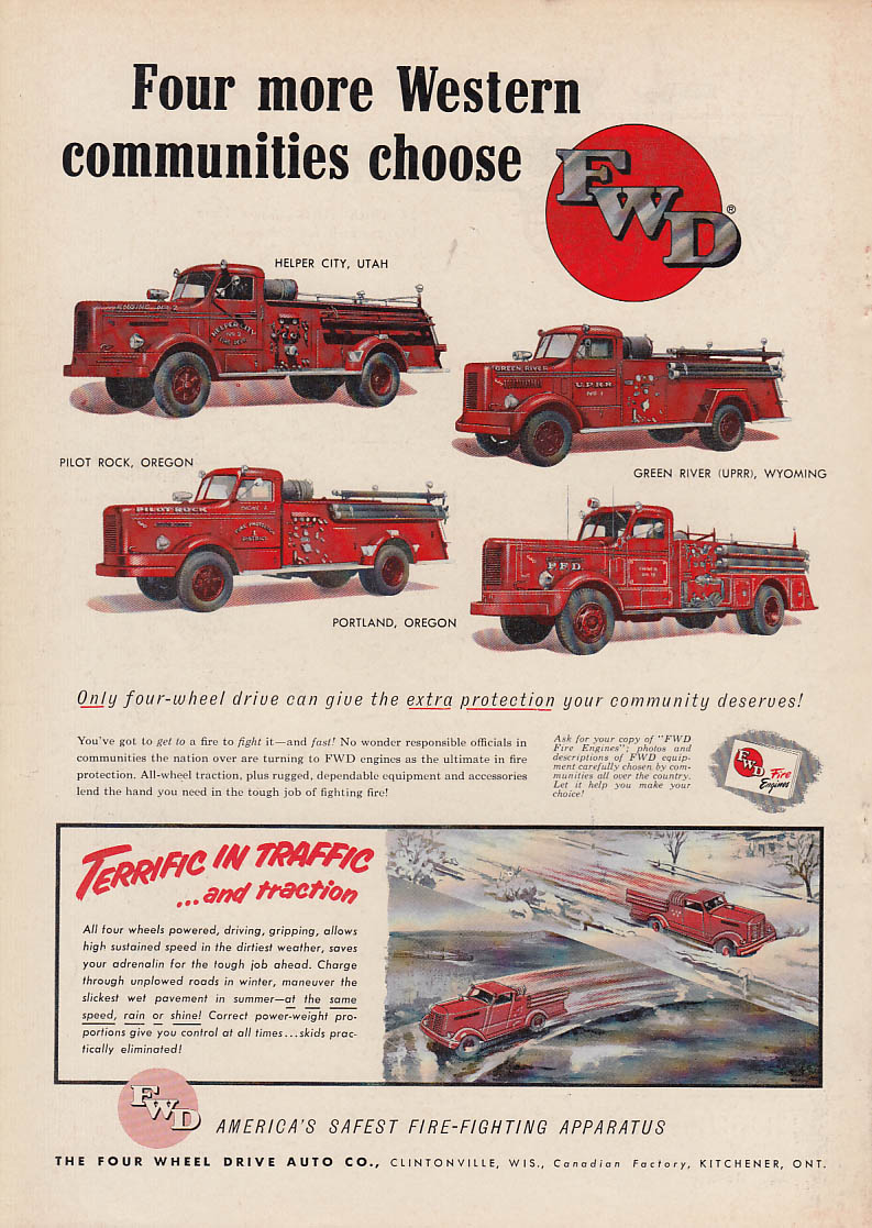 4 more Western communities choose FWD Pumper fire trucks ad 1953