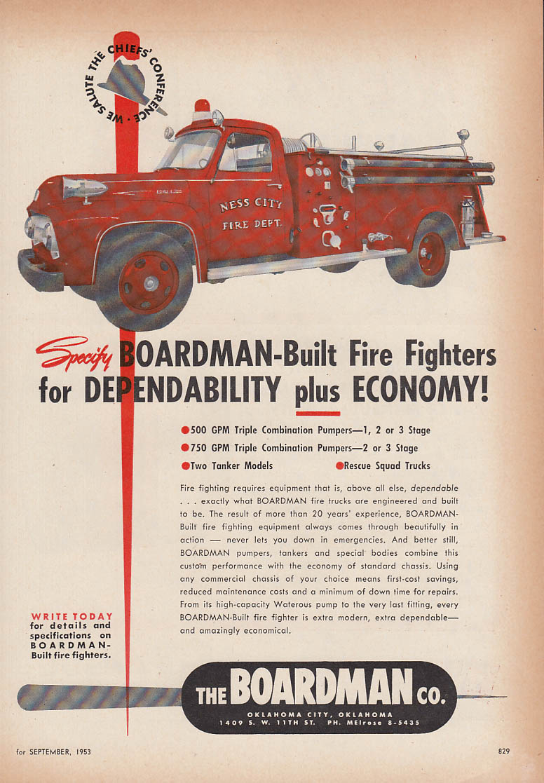 Boardman-Built Ford Pumper Fire Truck ad 1953 Ness City FD