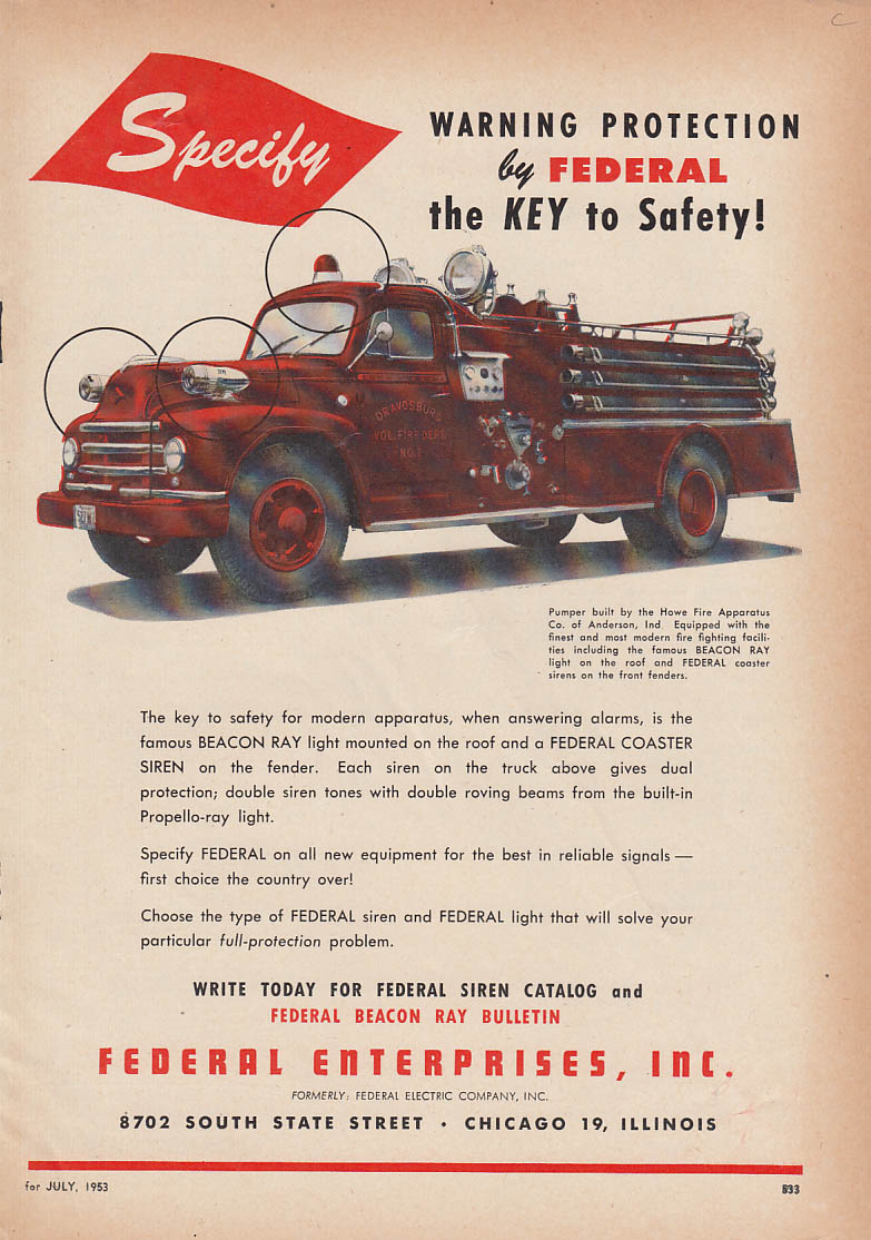 Image for Specify Warning Protection - Federal Sirens on Diamond T Howe Pumper ad 1953