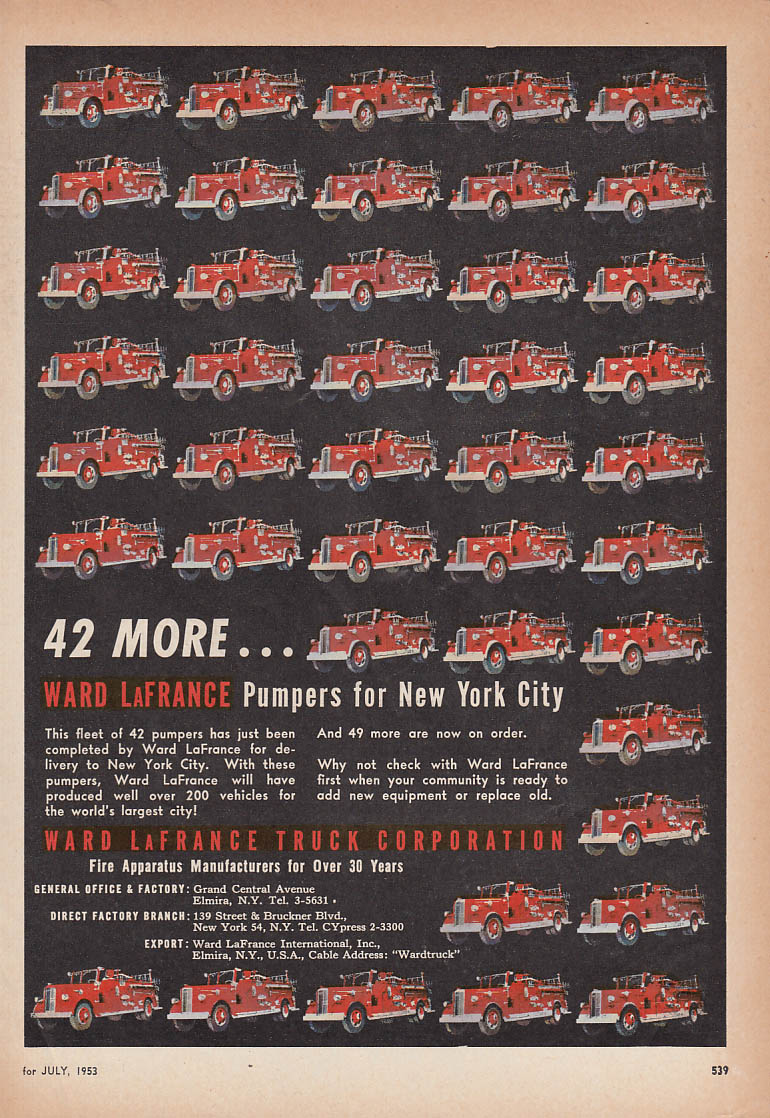 42 More Ward-LaFrance Pumper fire trucks for New York City ad 1953
