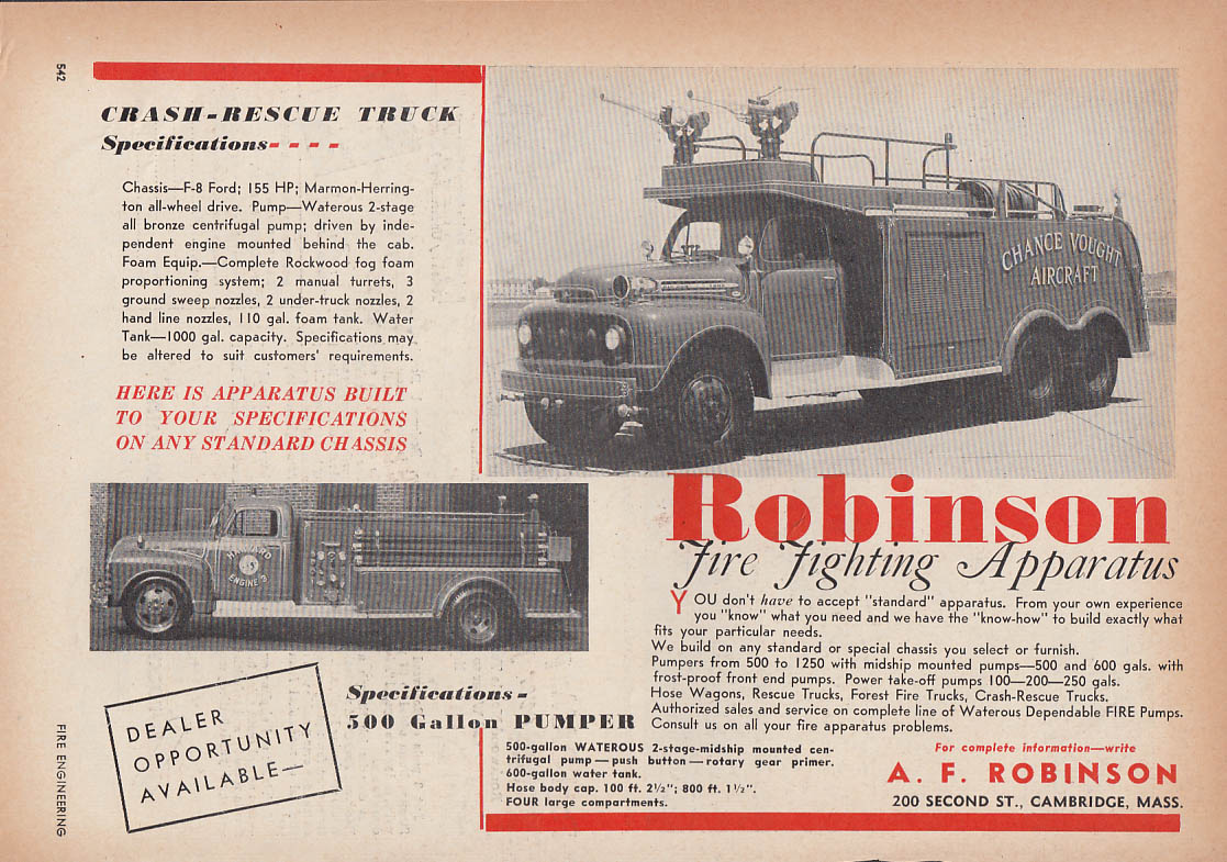 Image for Robinson Crash-Rescue Truck Ford F-8 fire truck ad 1953 Chance Vought Aircraft