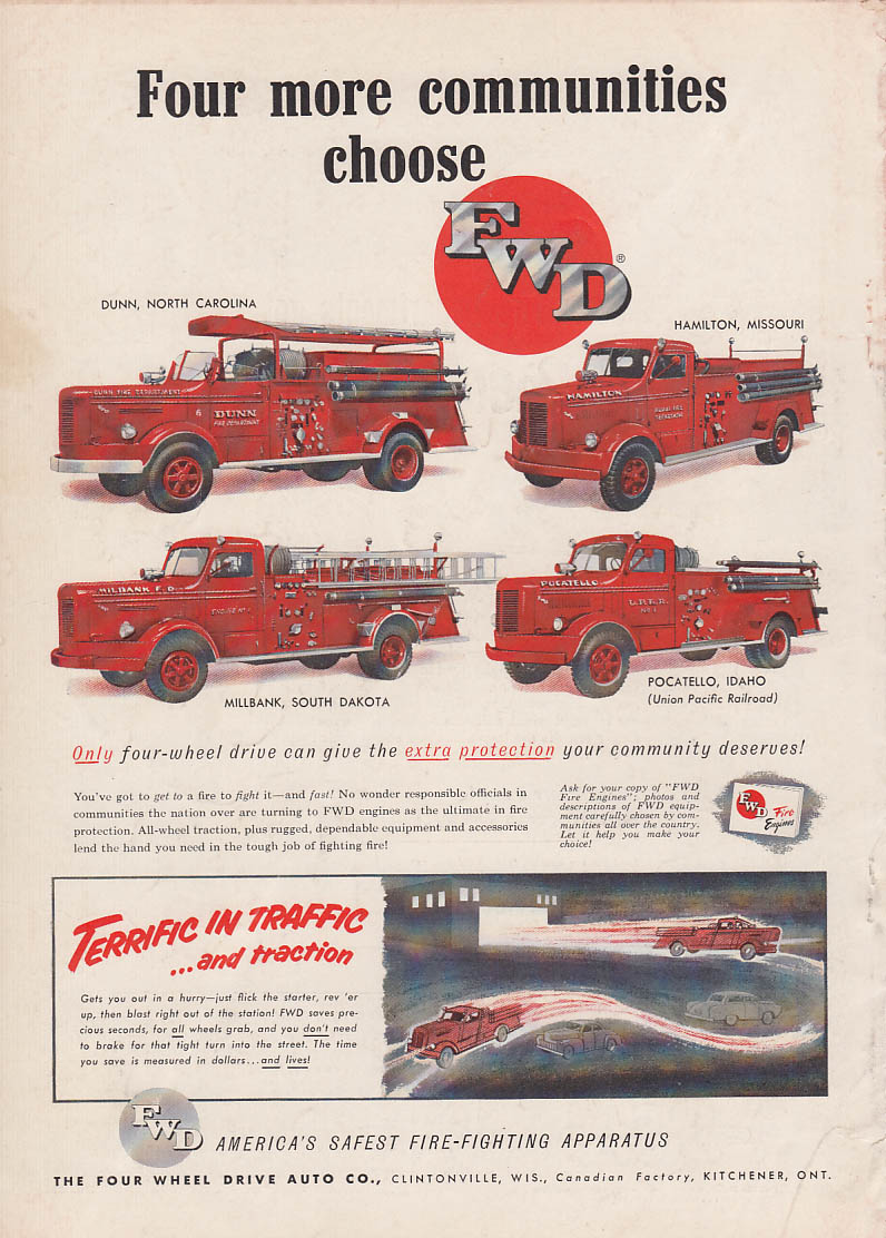4 more communities choose FWD Pumper fire trucks ad 1953 NC MO SD ID