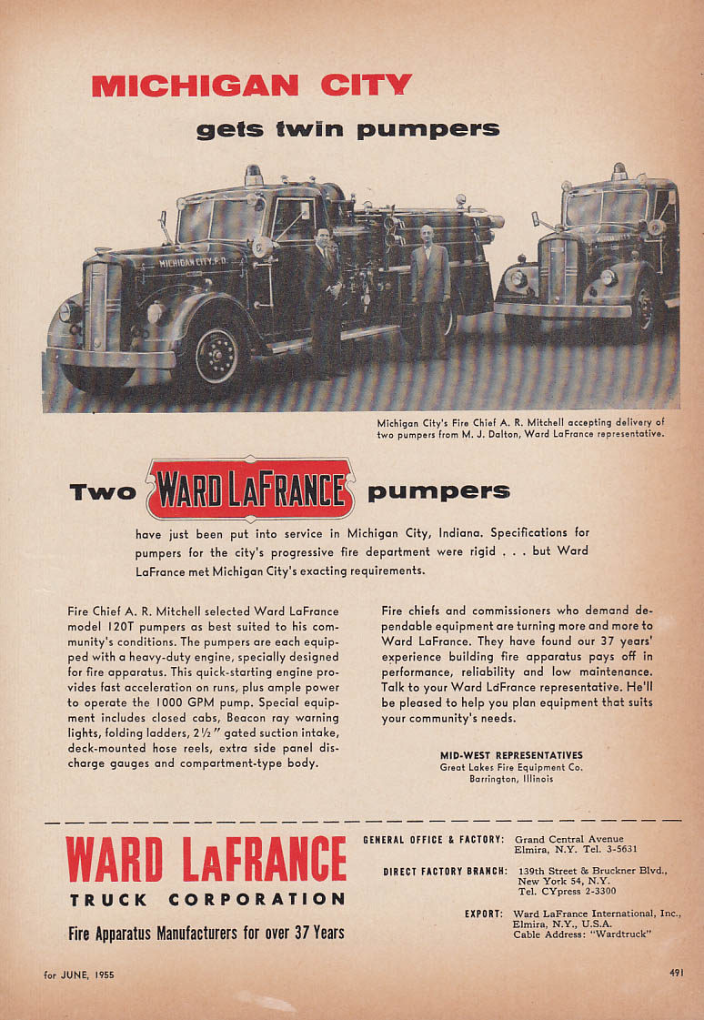 Chief A R Mitchell Michigan City IN gets twin Ward LaFrance Pumpers ad 1955