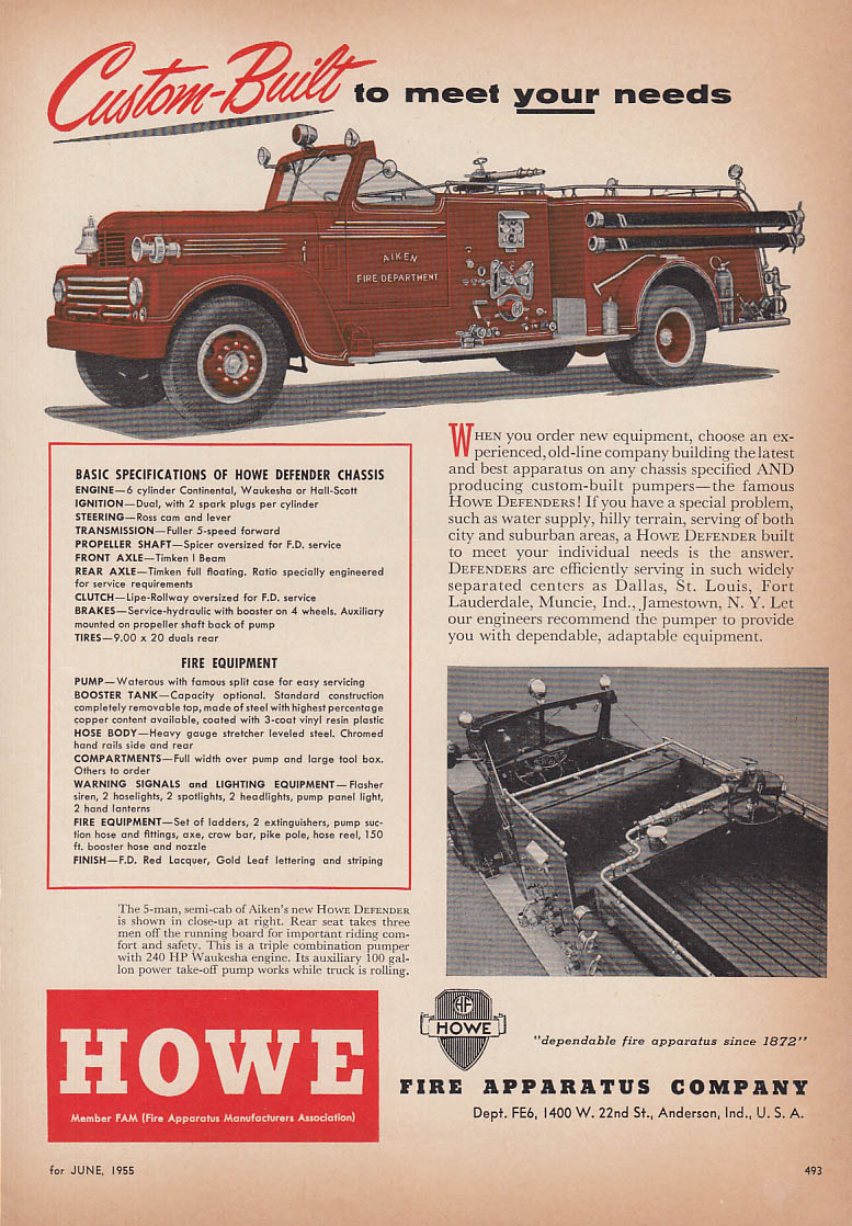 Custom built to meet your needs Howe Defender Fire Truck ad 1955 Aiken FD