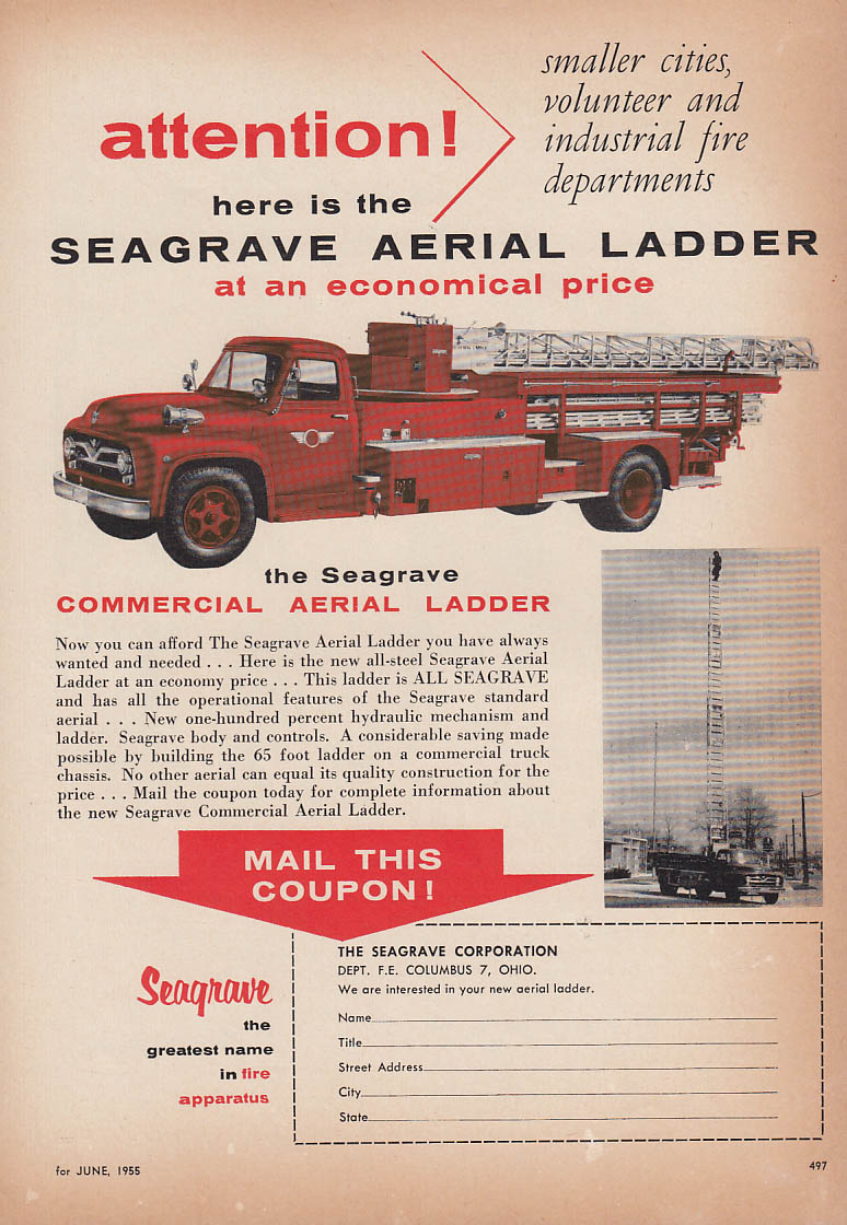 Here is the Seagrave Aerial Ladder at an economical price fire truck ad 1955