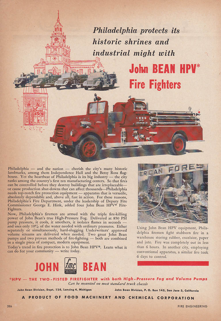 Image for Philadelphia protects with John Bean HPV Fire Fighters truck ad 1955