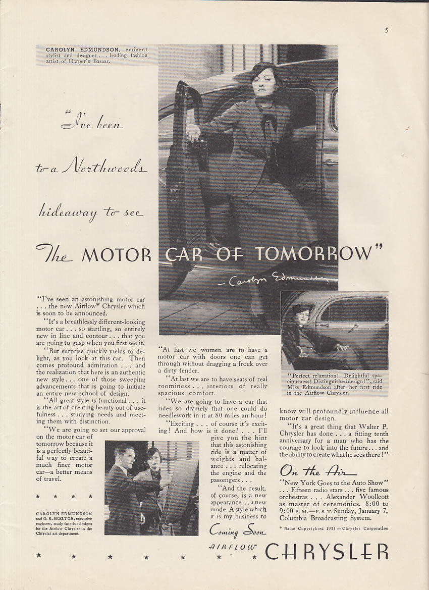 Image for Carolyn Edmundson Chrysler Airflow / Announcing 1st Series Hupmobile ad 1934