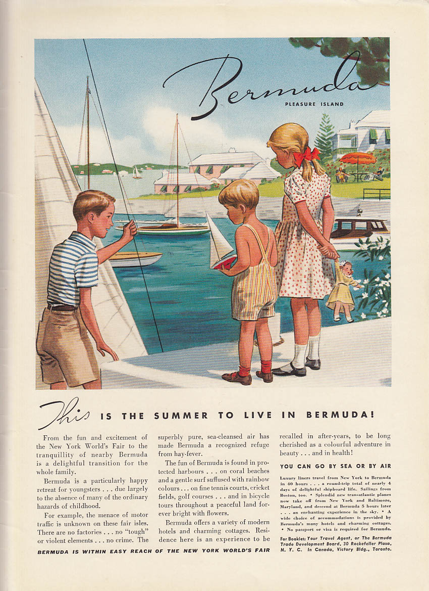 This is the summer to live in Bermuda! Ad 1939 NY