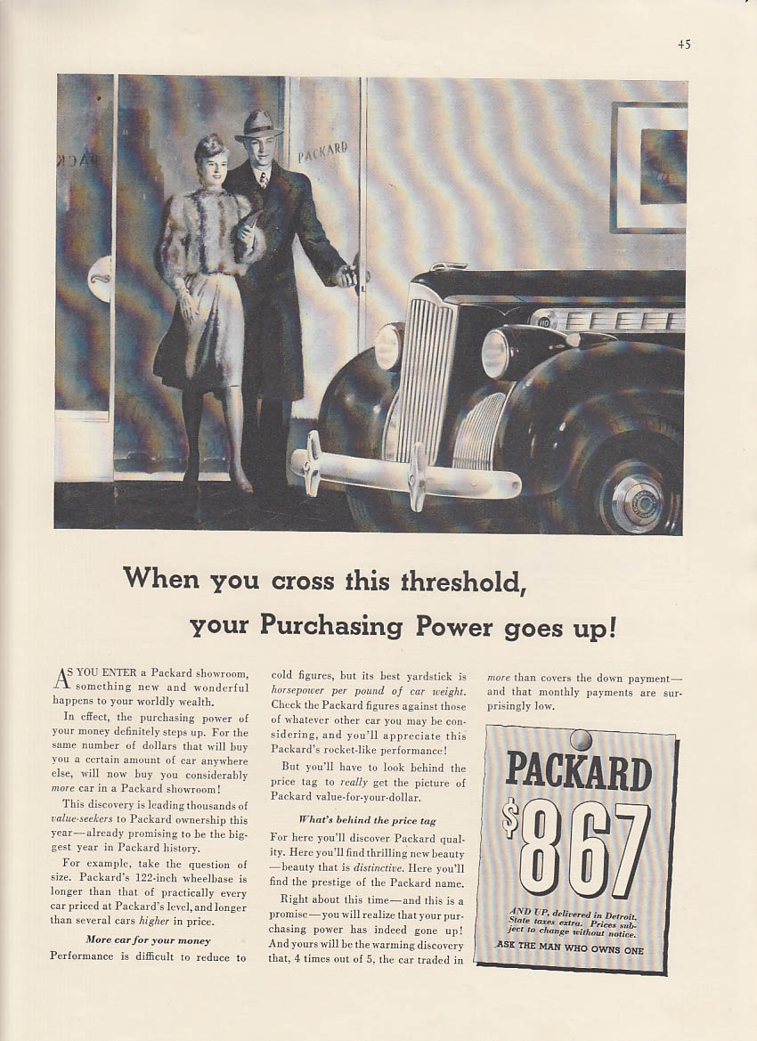 When you cross this threshold your Purchasing Power goes up Packard ad 1940