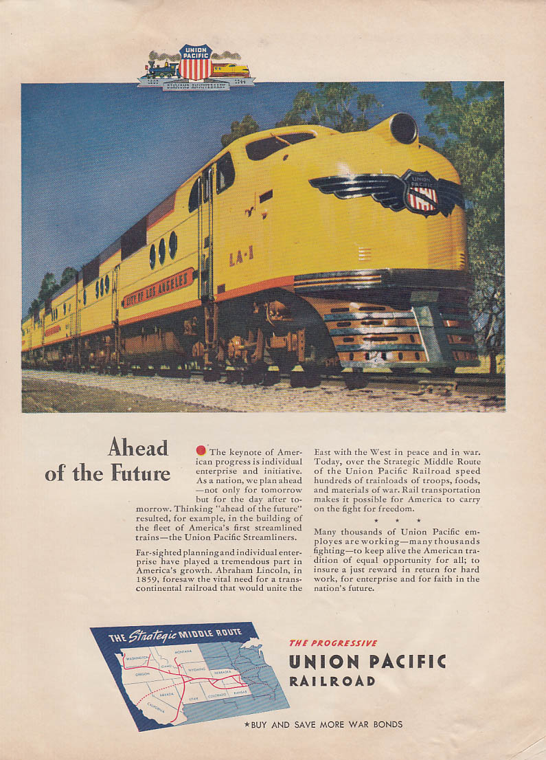Ahead of the Future - Union Pacific Railroad City of Los Angeles ad 1944 NY