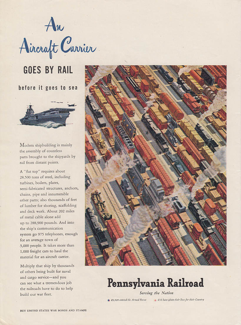 An Aircraft Carrier Goes by Rail - Pennsylvania Railroad ad 1944 NY
