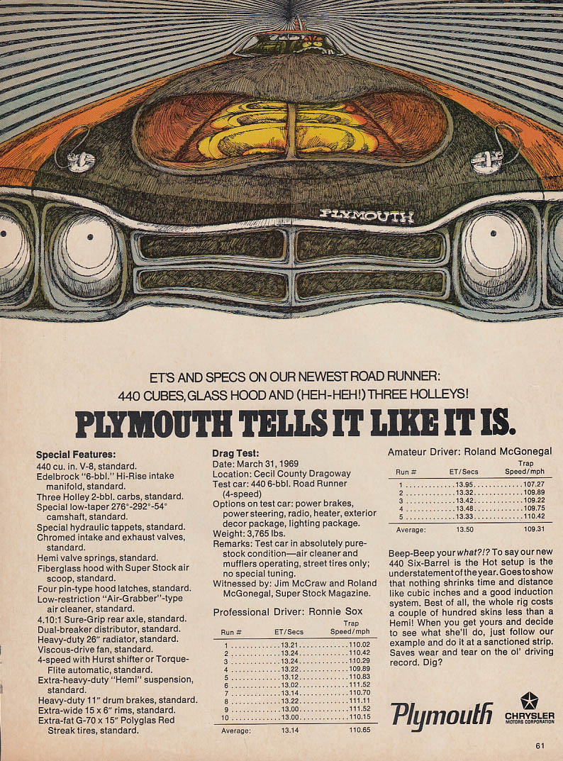 Ets & Specs: 440 cubes glass hood 3 Holleys Plymouth Road Runner ad 1969