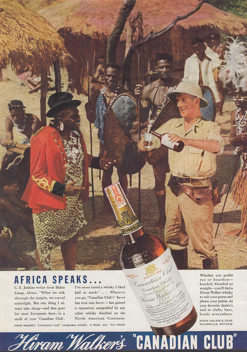 Africa Speaks C E Jenkins Rhino Camp Natives - Canadian Club Whiskey ad 1936