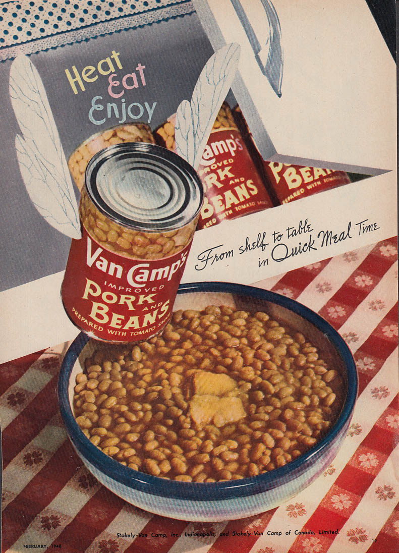 Image for From shelf to table in Quick Meal time Van Camp Pork & Beans ad 1948 WD