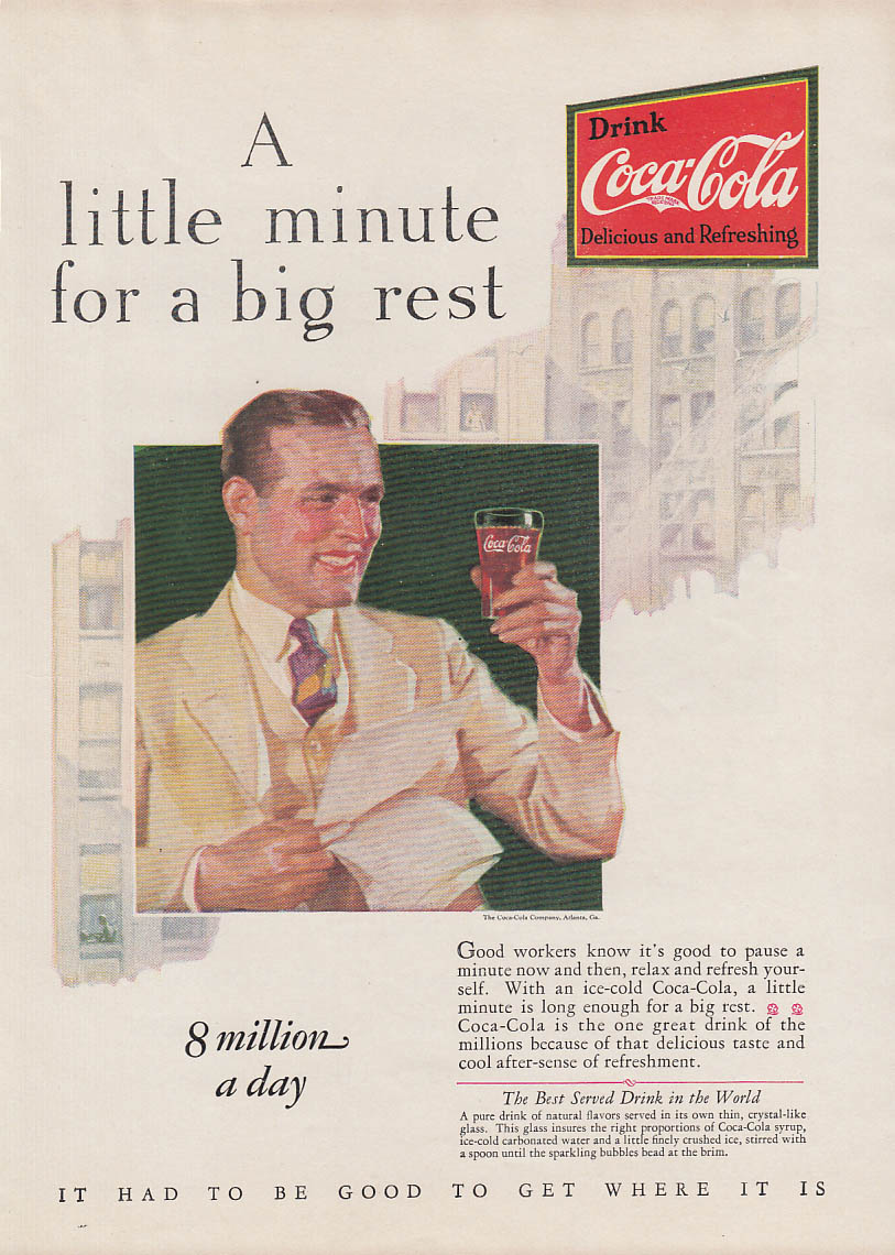 A little minute for a big rest Coca-Cola ad 1928 AM